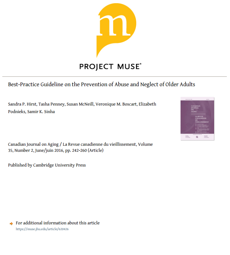 canadian journal on aging best practice guideline on the prevention of abuse and neglect of older adults